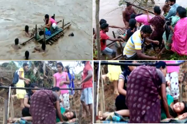 Pregnant woman carried on bamboo raft across river to reach hosp in Raygada