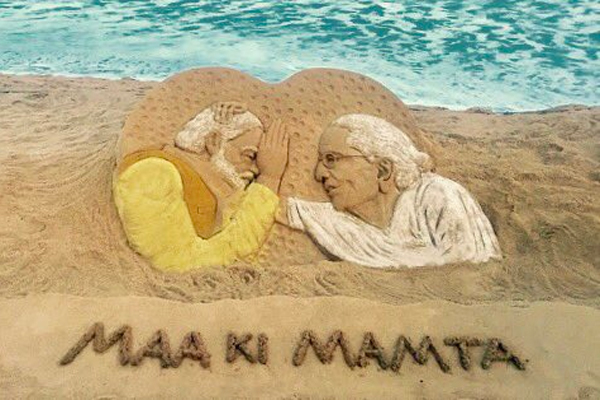 Sudarsan creates sand art to mark Mother's Day in Puri